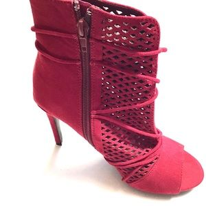 Anne Michelle Perforated Red Heeled Booties